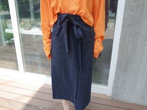 linen ribbon skirt : navy