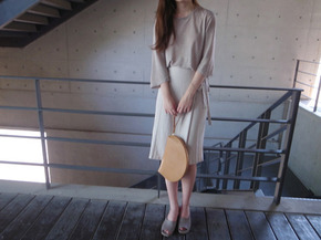 ribbon wrap skirt  : milk beige