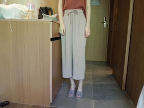 natural banding pants : beige