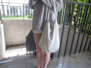 slanted linen bag : ligth beige