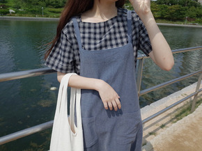 cool check blouse : navy