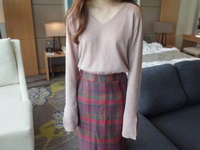 slmple slit knit top : pink beige