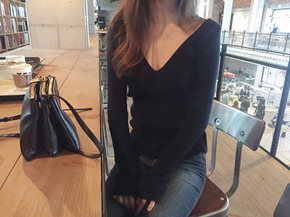 deep V knit top