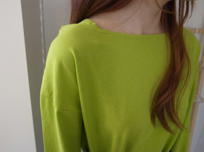 colorful boatneck top : yellow green