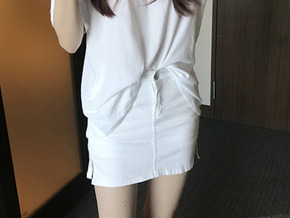mini skirt pants : white