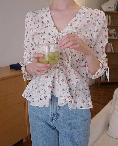 rose shirring blouse / 2colors
